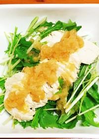 水菜と鶏むね肉のおろしポン酢サラダ
