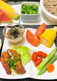 唐揚げ・冷たい蕎麦・夏の夕食メニュー