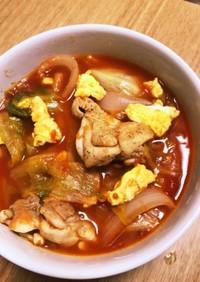レタスたっぷり卵トマト鶏もも肉のスープ