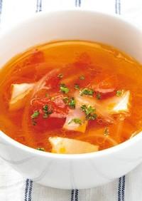 冷凍トマトとベーコンのスープ