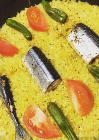 フライパンで簡単♡秋刀魚のカレーピラフ