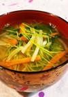 豆苗とモヤシと人参のお味噌汁♡