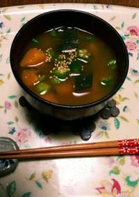 夏⛅の味噌汁❗南瓜オクラ☺(^q^)⛄☕