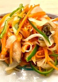 寿司酢で☆塩サバの野菜たっぷり南蛮漬け