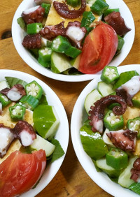 タコと豆腐の夏野菜サラダ