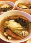小松菜とじゃこ天の落とし卵煮