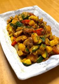 豚ロースと夏野菜のカリーケチャップソテー