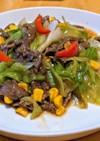 牛こま肉とレタスの中華炒め
