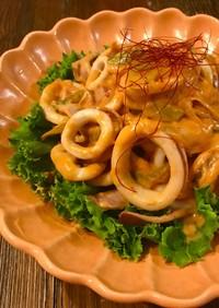 簡単♡イカと長葱のチリマヨ炒め