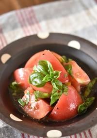 トマトとバジルのはちみつマリネ