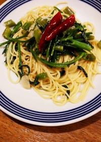 夏の葉物!!空芯菜のペペロンチーノ
