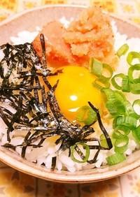 卵かけご飯に明太子♡