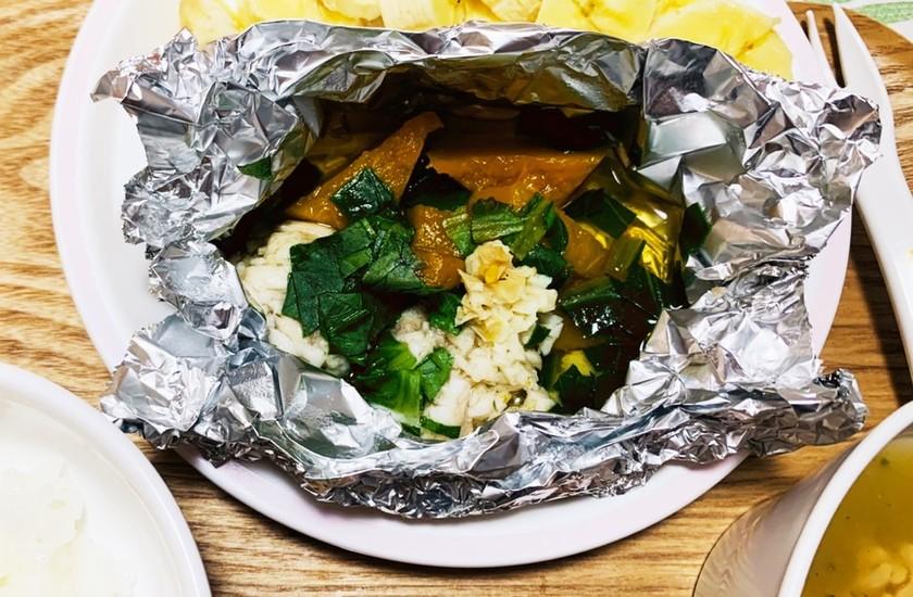 離乳食 後期〜鯛と野菜のホイル蒸し