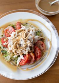 『野菜たっぷり!茹で鶏の棒棒鶏風サラダ』