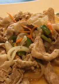 豚コマ、玉ねぎ、モロッコ豆の野菜炒め