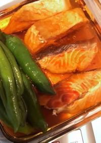 鮭とししとうの煮浸し