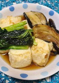 揚げ出し豆腐と江戸菜とナスの煮浸し