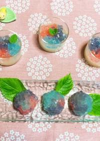 涼しげな夏菓子♪紫陽花*水ようかん*饅頭
