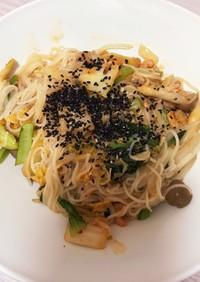 キムチ、野菜と肉焼き素麺