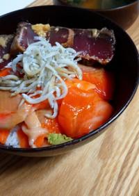 出汁まろ酢の酢飯で海鮮丼