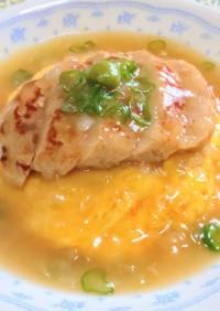 天津飯バーグ 天津飯鶏豆腐ハンバーグのせ