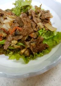 牛肉と野菜の甘酒炒め&大根ワカメの味噌汁