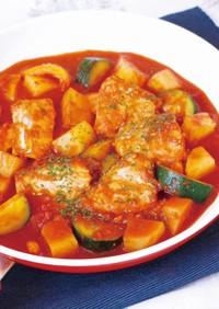 鮭と夏野菜のおつまみトマトパッツァ