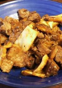 ステーキ簡単リメイク生姜焼き