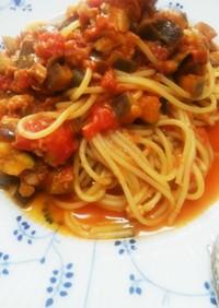 ツナと茄子のスパイシートマトソースパスタ