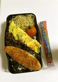 白身魚フライのり弁と魚肉ソーセージ