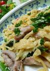豚肉とアスパラの明太子スパゲッティ