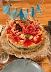 誕生日に!可愛いちらし寿司ケーキ