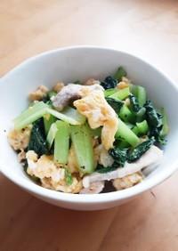 豚肉と小松菜の中華風玉子炒め