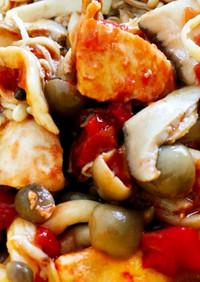 鶏胸肉とキノコのトマト煮込み