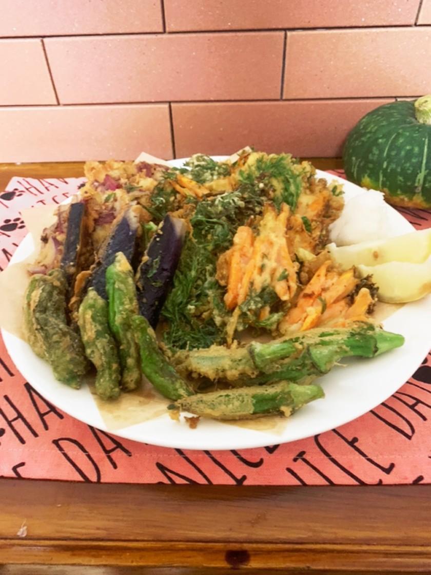 胡麻油で香ばしいサクサクな野菜の天ぷら