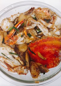 渡り蟹とトックの醤油炒め(中華料理)