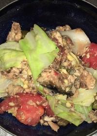 アンチョビと鯖水煮と温野菜のサラダ