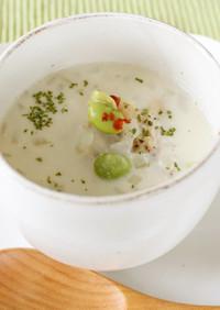 ダイエット!鶏むね肉と枝豆の豆乳スープ