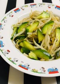 胡瓜とモヤシ 鶏がらオイスター炒め 簡単