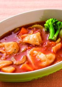 水餃子入り!野菜たっぷり満腹トマトスープ