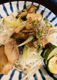 サクじゅわ〜☆夏野菜&魚揚ヘルシー素麺♪