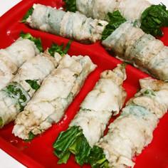 夏野菜!空芯菜の豚バラ紫巻き
