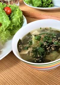 冷製でも美味⭐︎さば缶汁のゴマこくスープ