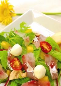 桃と真鯛の簡単ヘルシーサラダ