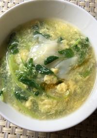 豆苗のワンタンスープ