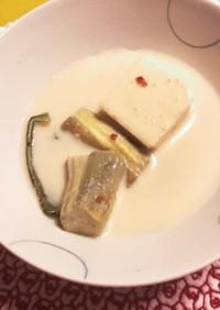 茄子ピーマン豆腐の豆乳ごま冷スープ浸し