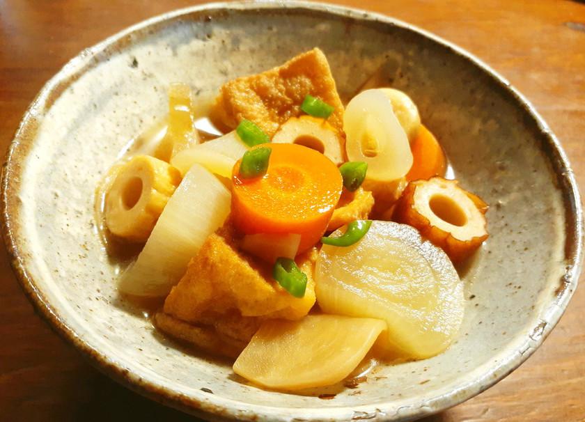 厚揚げ、野菜、発酵蕪(すぐき風)の煮物