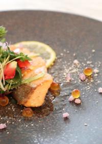 フランス料理 鮭のポワレブールノワゼット