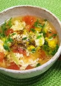 【簡単☆時短】ふわふわ卵とトマトのスープ