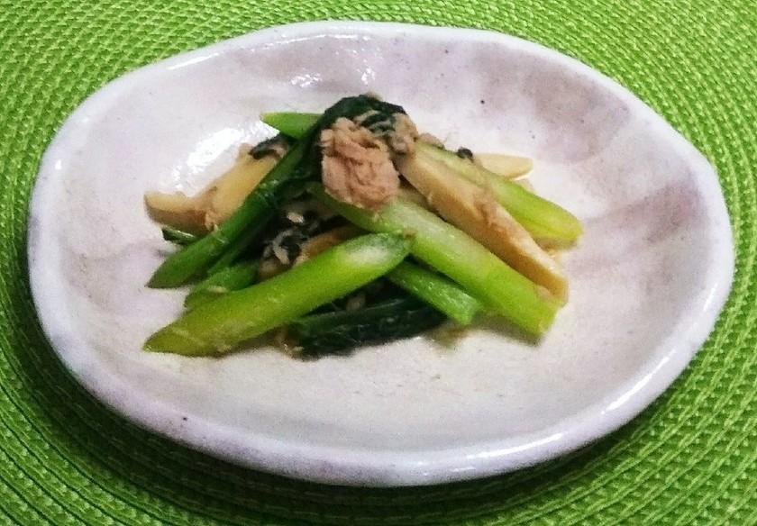 ツナとアスパラ菜とエリンギのバターソテー